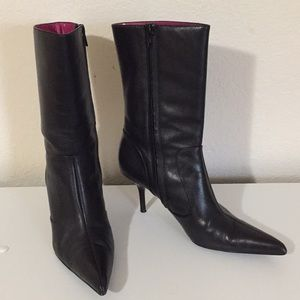Steve Madden Black Leather Boots Pointy Heels Sz 6